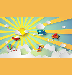 plane flying on sky vector image vector image