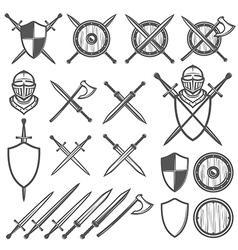 Set of medieval swords shields design element vector image