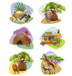 set of mini compositions on safari theme vector image vector image