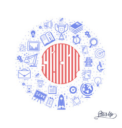 the concept of a startup lettering in the circle vector image vector image