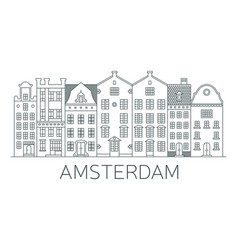 banner of amsterdam city in flat line style vector image