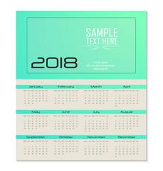 calendar for 2018 template flyer design on green vector image