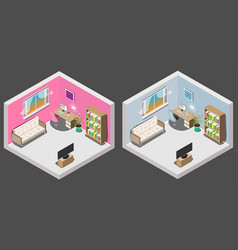 isometric interior of room boy and girl vector image vector image