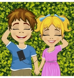 Little teenage boy and girl listening to music vector image
