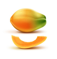 whole and slised papaya vector image vector image