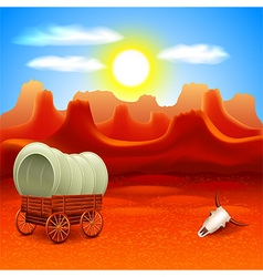 Wild west landscape with old wagon vector image