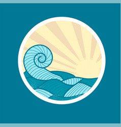 badge with sea wave and sun vector image