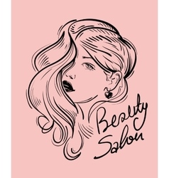 Face of beautiful girl hand drawn sketch vector