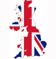 Map of the UK with national flag vector image