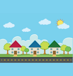 scene with three houses along the road vector image vector image