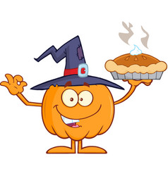 smiling witch pumpkin character holding up a pie vector image vector image