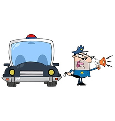 Traffic Police Officer Yelling Through A Megaphone vector image vector image