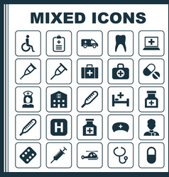 drug icons set collection of pellet surgical bag vector image