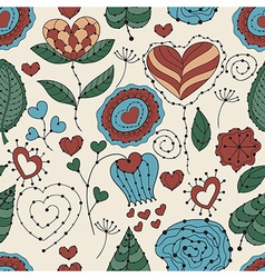 Seamless Valentines Day Floral Pattern vector image vector image