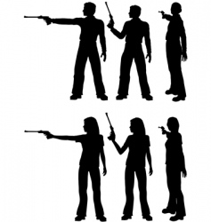 silhouette shooters vector image