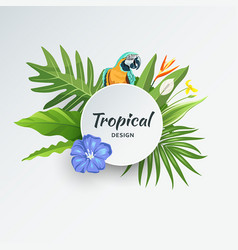 tropical green leaf with parrot and flower vector image