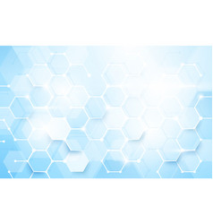 Abstract blue hexagons shape and lines vector