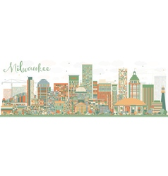 Abstract milwaukee skyline with color buildings vector