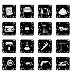 Architecture set icons grunge style vector