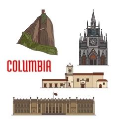 Architecture tourist attractions colombia vector