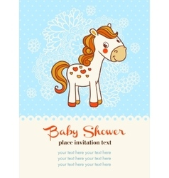 Baby shower invitation card with horse vector