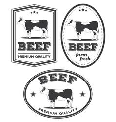Beef vintage labels vector image