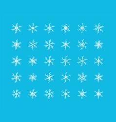 big set snowflakes winter christmas xmas vector image