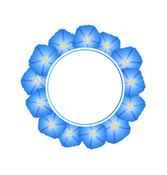 Blue morning glory flower banner wreath vector