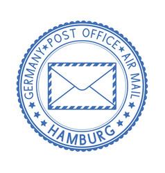 Blue postal stamp hamburg germany postmark vector
