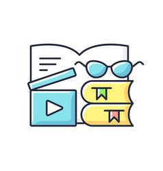 Book review videos rgb color icon vector