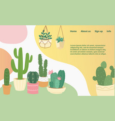 cactus and succulents domestic collection landing vector image