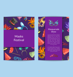 card or flyer templates set with masks and vector image