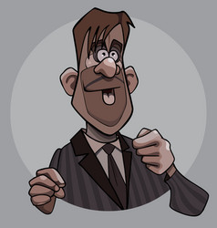 cartoon man in a suit with a tie is broadcasting vector image