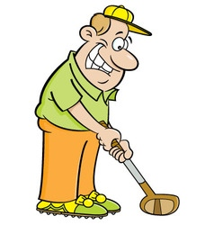 Cartoon man playing golf vector image