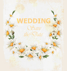 Chamomile flowers wedding wreath card vector