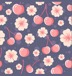 cherries and flowers seamless pattern vector image