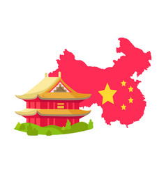 China building and map with flag asia vector