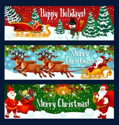 Christmas holiday banner santa sleigh and gift vector