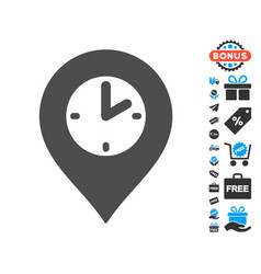 Clock marker icon with free bonus vector