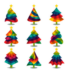 Collection of colorful christmas tree icons vector