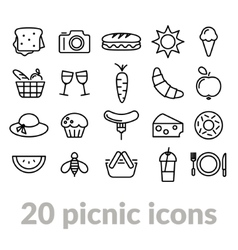collection picnic line icons vector image
