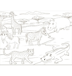 Coloring book educational game African savannah vector image