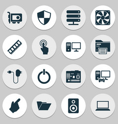 computer icons set with printing machine server vector image