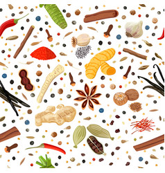 cooking spices seamless pattern set vector image
