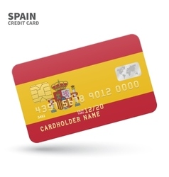 Credit card with Spain flag background for bank vector