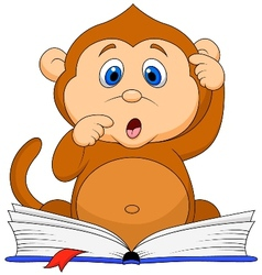 Cute monkey cartoon reading book vector image