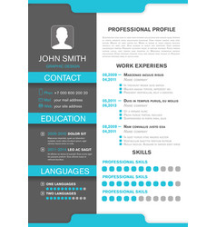cv personal profile professional resume design vector image