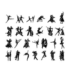 Dancer people silhouette collection vector