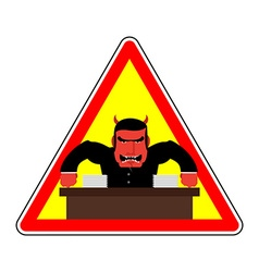 Danger sign Office label Beware of evil boss Angry vector