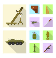 design of weapon and gun icon set of vector image